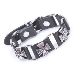 KINNO - Cross Stud Genuine Leather Bracelet