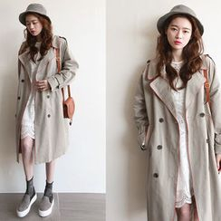 NIPONJJUYA - Epaulet Contrast-Piping Trench Coat