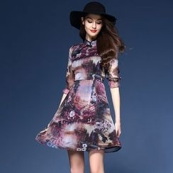 Elabo - Elbow-Sleeve Print A-Line Midi Dress
