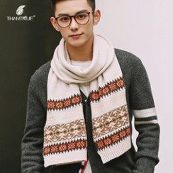 Thantrue - Contrast-Color Knit Scarf