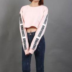 Momewear - Long-Sleeve Paneled Cropped Top