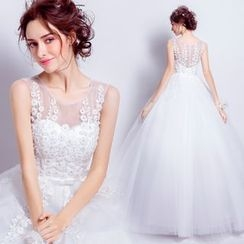 Angel Bridal - Sleeveless Lace Ball Gown Wedding Dress