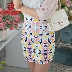 Elisa Rachel - Patterned Pencil Skirt
