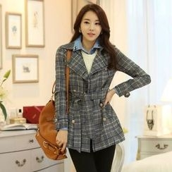Styleonme - Metallic Button Plaid Trench Coat