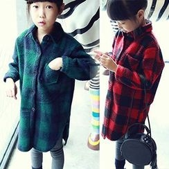 Rakkaus - Kids Long-Sleeve Check Buttoned Coat