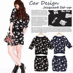 Click Japan - Set: Printed Pullover + Miniskirt
