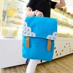Miss Sweety - Lace-Appliqué Canvas Backpack
