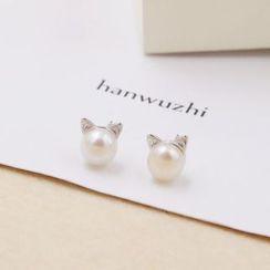 Love Generation - 天然淡水珍珠可愛小貓喵耳環