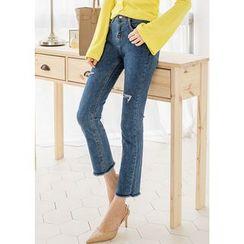 J-ANN - Banded-Waist Fray-Hem Jeans