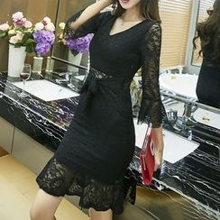 Silkfold - Long-Sleeve Lace Sheath Dress