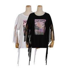 Momewear - Short-Sleeve Fringed Top