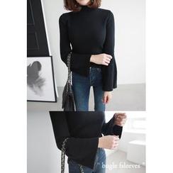 Miamasvin - Mock-Neck Wool Blend Sweater