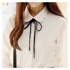 Sechuna - Tie-Front Cotton Shirt