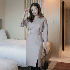 Seoul Fashion - Belted Wool Blend Sheath Dress