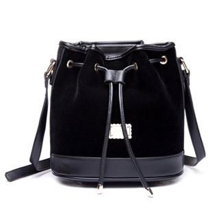 MBaoBao - Velvet Panel Drawstring Bucket Bag