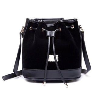 MBaoBao - Velvet Panel Drawstring Bucket Bag