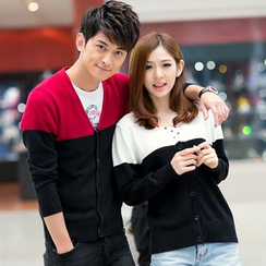 Lovebirds - Couple Color-Block Cardigan