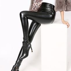Crytelle - Faux Leather Leggings