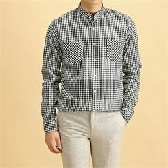 THE COVER - Mandarin-Collar Dual-Pocket Checked Shirt
