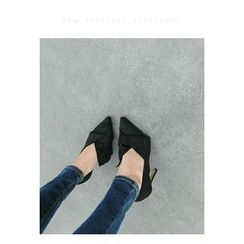 ATTYSTORY - Faux-Suede Bow-Accent High-Heel Pumps