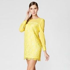 O.SA - Long-Sleeve Lace-Panel Dress
