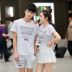 GASVR - Couple Matching Set: Short-Sleeve Print T-Shirt + Shorts / Short-Sleeve Cropped T-Shirt