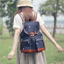SUPER LOVER - Embroidered Drawstring Canvas Backpack