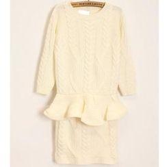 Momewear - Set: Cable-Knit Peplum Sweater + Skirt