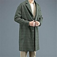 THE COVER - Notched-Lapel Pinstripe Wool Blend Coat