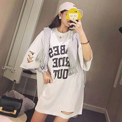 Frontline - Lettering Ripped 3/4 Sleeve T-Shirt Dress