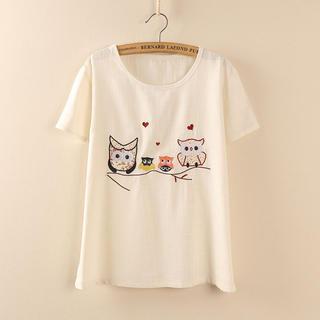 Owl Pattern T Shirt Off White One Size Tangi