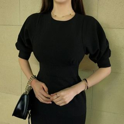 Yilda - 泡泡袖荷葉邊修身連衣裙