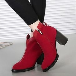 Mancienne - Faux-Suede Chunky-Heel Ankle Boots