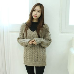 Dodostyle - V-Neck Cable-Knit Sweater