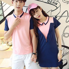 TOOI - Couple Matching Contrast Trim Short Sleeve Polo Shirt / Short Sleeve Collared Dress
