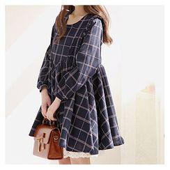 Sechuna - Frill-Trim Plaid Empire Dress