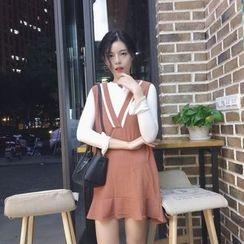 VeryBerry - 套装: 纯色长袖T恤 + 荷叶摆背心裙