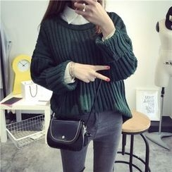 Qimi - Ribbed Drop-shoulder Sweater