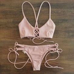 NAYOOTON - Plain Strappy Bikini