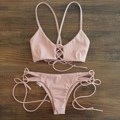 NAYOOTON - 纯色带式比基尼泳装
