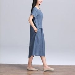 Lovebirds - Short-Sleeve Midi Dress