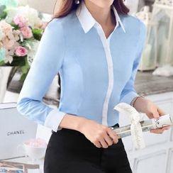 Mija - Contrast Trim Long-Sleeve Blouse / Trousers / Skirt