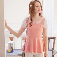 Tokyo Fashion - Short-Sleeve Rosette-Detail Peplum Top