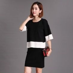 Romantica - Set: Color-Block Knit Top + Skirt