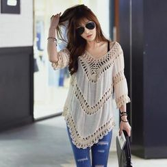 REDOPIN - V-Neck Crochet Trim Tunic