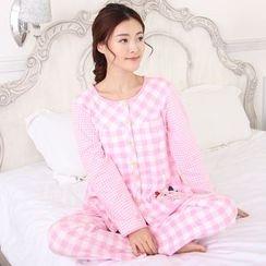 Kream - 家居服套裝:哺乳上衣 + 格子褲