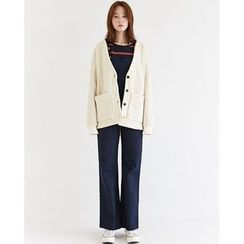 Someday, if - Dual-Pocket Cable-Knit Cardigan