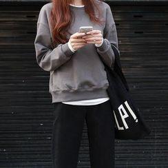 NIPONJJUYA - Drop-Shoulder Layered Cotton Sweatshirt