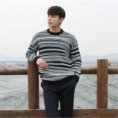 BYMONO - Crew-Neck Patterned Sweater