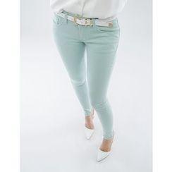 GUMZZI - Flat-Front Skinny Pants